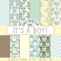 """Baby Boy Digital Paper: """"It's a Boy!"""" with blue backgrounds, baby patterns, baby shower for scrapbooking, invitations, and cards by hanaflowerdesigns, $4.80 #etsy #scrapbook #digital #paper #boy #baby"""