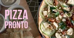 Pizza with Hervé cheese, zucchini, figs & nuts.