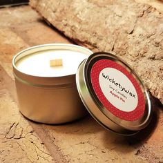 Fill your home with the scent of true baked hot apple pie! This Apple Pie soy candle comes in an 8 oz tin with a crackling wood wick and is handmade and hand poured with natural soy wax. Candles With Jewelry Inside, Jewelry Candles, Fragrant Candles, Scented Candles, Fall Scents, Tin Candles, Paraffin Wax, Burning Candle, Candle Making