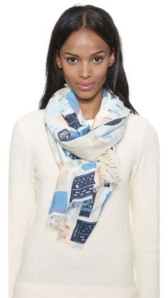 Kate Spade New York Transcontinental Express Travel Log Scarf