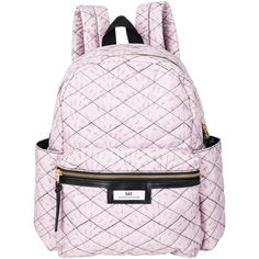 Et DAY Birger et Mikkelsen Gweneth Quilt Backpack , Pink (€120) ❤ liked on Polyvore featuring bags, backpacks, pink, pink rucksack, zipper bag, quilted backpack, travel pouch and travel zipper pouch