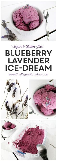 Blueberry Lavender Ice Cream. Vegan, gluten-free and without refined sugar :)