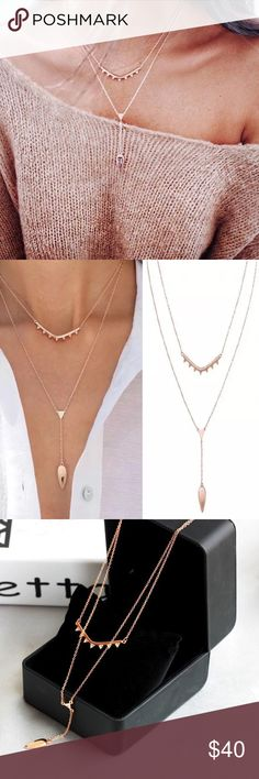 """New stella & dot layer necklace Brand new beautiful layer necklace from Stella & dot // Pavé sparkle detail and shiny rose gold or silver plating form this versatile delicate necklace // Wear together as one cohesive look or separately as a delicate lariat or single strand  19"""" with 3"""" extender (longer strand) //  16"""" with 2"""" extender (shorter strand) Stella & Dot Jewelry Necklaces"""