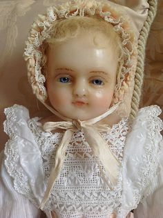 BEAUTIFUL Faith - a signed Pierotti English poured wax baby doll in lovely gown