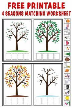 """""""Season Match-Up"""": FREE Printable 4 Seasons Matching Worksheet (Preschool Printables) Preschool Printables, Kindergarten Worksheets, Worksheets For Kids, Preschool Activities, Free Preschool, Seasons Worksheets, Seasons Activities, Weather Activities, Weather Worksheets"""