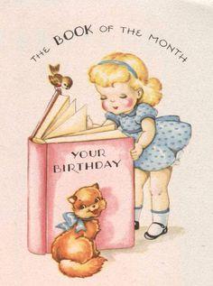 A darling vintage birthday greeting card. #vintage #birthday #card #cute