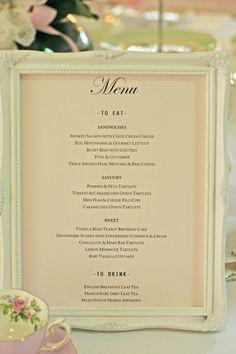 Great idea putting menu in photo frame. Very stylish!