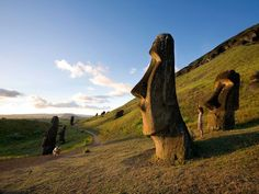 Easter Island...2000 inhabitants, early settlers carved over 900 statues called moai, the settlers also began cutting down the islands trees and shrubs leaving the island hauntingly empty.