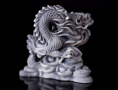 Dragon Marble Statue Figurine Animal Fantasy by AnimaliumEtsy