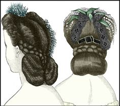 """A Victorian Lady's Guide to Hairdressing –Godey's Lady's Book, March 1864. The 1864 issue of Godey's Lady's Book provides an illustration of two typical 1860s hairstyles (see above plate).  Called the """"Clarissa coiffure"""" and the """"Morny headdress,"""""""