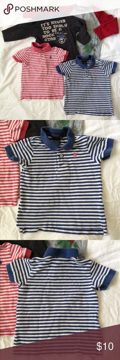 POLO BY RALPH LAUREN polos & long-sleeve t-shirts POLO BY RALPH LAUREN polos & unknown brand long-sleeve t-shirts bundle for an one-year old kid. Everything: Faded fair condition with no stains/no holes, machine wash. A. 2 POLO BY RALPH LAUREN polos, 100% cotton. B. 2 long-sleeve T-shirts with cut tags. Shirts & Tops