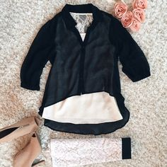 Sheer Black High-Low Top Sheer black collared button down top. 3/4 length sleeves and trendy high-low feature. Tops Button Down Shirts