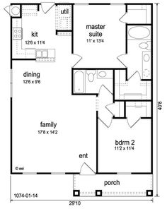 Craftsman Style House Plan - 2 Beds 2 Baths 1074 Sq/Ft Plan Floor Plan - Main Floor Plan -Widen living and kitchen, put laundry in small walk-in inside the master. The Plan, How To Plan, Small House Floor Plans, Low Cost House Plans, 2bhk House Plan, 2 Bedroom House Plans, 30x40 House Plans, Barndominium Floor Plans, Barndominium Texas