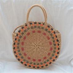 New straw bag hand-woven round handbag women's bag Luggage Sizes, Fabric Textures, Fashion Bags, Straw Bag, Hand Weaving, Shoulder Bag, Tgif, Colors, Handbags