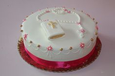 Tarta de comunion decorada con fondant y glassa real.