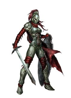 Female Sword and Board Fighter - Pathfinder PFRPG DND D&D d20 fantasy