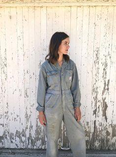 5d90f50f482 XS Small Vintage Coveralls Mechanic Jumpsuit Workwear Herringbone 50s