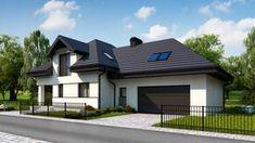 Projekt domu Z284 D GP2 Wersja projektu Z284 D z garażem dwustanowiskowym z prawej strony. Luxury House Plans, Home Fashion, Mansions, House Styles, Outdoor Decor, Case, Home Decor, Ideas, Projects