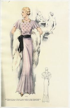 A softer, more feminine style replaced the boyish, flapper look of the twenties. At the beginning of the decade, hemlines dropped dramatically to the ankle and remained there until the end of the thirties.