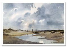 Morston Marsh, Norfolk by James Fletcher-Watson @jamesfletcherwatson.com.  This man is one of the giants of UK watercolor, or watercolour, as they say...He has written books, produced DVDs, and leads workshops.