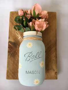 Hey, I found this really awesome Etsy listing at https://www.etsy.com/listing/524953172/chalk-painted-mason-jar-reclaimed-wood
