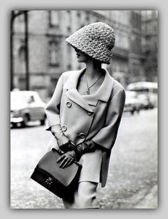 Shot by Georges Saad in #Paris.  Suit by Jean Patou & gloves/hat from Hermès. 1962 http://highlowvintage.com/ xo…HLV #Pasadena #LongBeach