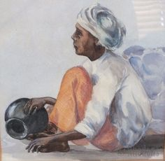 Well executed watercolour of a seated male figure by internationally renowned Sri Lankan artist D S Paynter. Artist signature to lower R/H corner