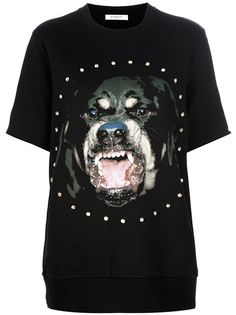 Black cotton T-shirt from Givenchy featuring a round neck, a dog print motif with a circular jewel embellishment design to the front and short sleeves.