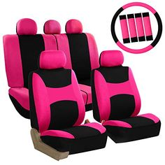 FH Group Light & Breezy Purple and Black Auto Accessories Set, with Steering Wheel Cover and Seat Belt Pads, Airbag Compatible and Split Bench Full Set Seat Covers Pink Car Seat Covers, Seat Belt Pads, Bench Covers, Truck Interior, Boat Interior, Interior Ideas, Car Set, Wheel Cover, Floor Mats