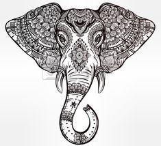 Vintage ornate vector ethnic elephant with tribal ornaments Ideal ethnic background tattoo art yoga Stock Vector