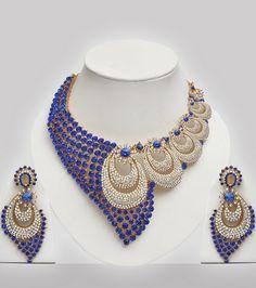 Blue & White Stones Studded Wedding Jewelry Set - Click Image to Close