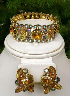 Signed ALICE CAVINESS Set Bracelet & Earring AB Topaz Rhinestone Art Glass As Is #AliceCaviness
