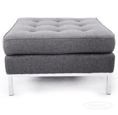 Florence Knoll Style Ottoman, Cadet Grey Tweed Cashmere Wool |