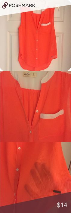 Neon Hollister Top Brand new condition neon orange & white sheer button down tank. Size: XS, but has intentional loose fit. Hi-low hem line, 100% polyester. Perfect for layering! Hollister Tops Button Down Shirts