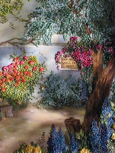 Delphiniums and Roses.  this site leads to more silk ribbon embroidery patterns.  and kits/patterns for sale