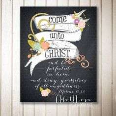 8x10 or 16x20 size Instant Download - 2014 Youth Theme Come Unto Christ - Chalkboard style