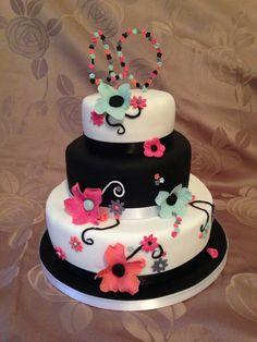 40th birthday cake. Black and white cake