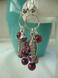 FREE SHIPPING Sterling Silver Clustered Red Pearl by josoriginals, $45.00
