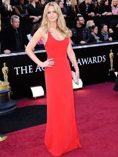 Jennifer Lawrence    Love the Red Dress. I just think the neckline is a little too low....