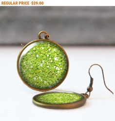 SALE Lime Green Glitter Earrings Chartreuse 25 mm 1 Inch Round Statement Earrings Bohemian Jewelry Bridesmaid gift 5016-S17 by StudioDbronze