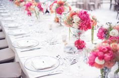 beach wedding bright wedding color palette pink peony flower centerpieces and Reception, and Video, Styles, Romantic Wedding Colors, Bright Wedding Colors, Romantic Weddings, Floral Wedding, Wedding Flowers, Beach Weddings, Wedding Beach, Garden Wedding, Elegant Wedding
