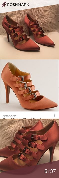 HP 🛍NWT J.crew Adriana Satin Buckle pump size 7.5 🛍🛍🛍🛍 HOST PIC 🛍🛍🛍🛍🛍NWT J.crew Adriana Satin Buckle pump GORGEOUS official J.crew color on box: Roasted Chestnut  made in Italy size 7.5 comes with original J.crew box J. Crew Shoes Heels
