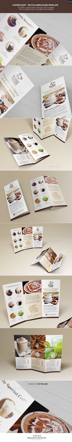 Grunge Trifold Template 05 - coffee shop brochure template