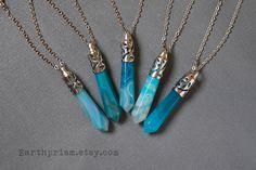 Aquamarine Blue green Crystal Point Pendulum Wand Pendant Necklace Leather Cord