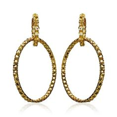 Yellow Gold & Yellow Sapphire Double Hoop Earrings