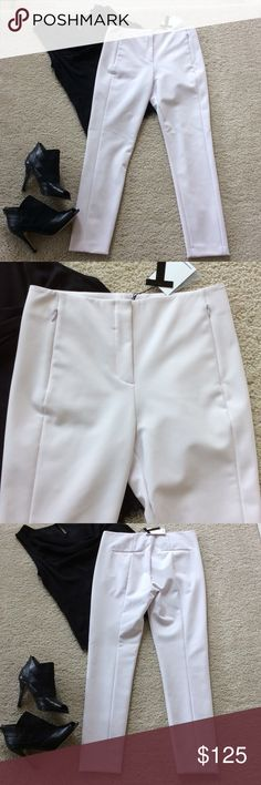 """T Alexander Wang ankle pants T Alexander Wang Capri pants. Gorgeous for any occasion💕 Color is called Magnolia...a very subtle light lavender color. Flat front with zip and hook closure. Hidden pockets in front. Approx 26"""" inseam. Laying flat waist approx 14.5"""" across. 85 nylon 15 polyurethane. Size 4. NWT, never worn. Alexander Wang Pants Ankle & Cropped"""