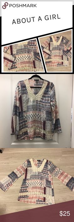 NWOT Boho top 💕 about a girl NWOT, about a girl boho style sheer top, LOVE this its just too small for me 😞 about a girl Tops