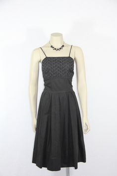 1950s Perfect Black Sun dress - Polished Cotton and Eyelet LBD on Etsy, $131.32 AUD