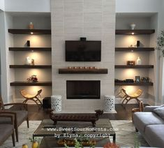 We have these 2 nooks beside the fireplace that are designed for built in bookcase. Rather than went with conventional built in style we chose the modern and simple design. Although it's simp… tv wall built ins Fireplace Shelves, Fireplace Built Ins, Home Fireplace, Fireplace Remodel, Living Room With Fireplace, Fireplace Design, Fireplace Ideas, Modern Fireplace Mantles, Fireplace Lighting