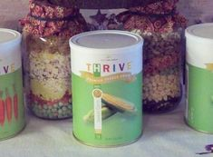 This link will take you to Taco Soup and a Pasta Fagioli Soup in a jar using THRIVE foods. Only takes 15 minutes to cook!!  These are really great when you've had a super busy day, or to give to family/friends who have been in the hospital or going through a rough time.  I'm going to use these as Christmas gifts, too.  : )  Contact me to get sale pricing!